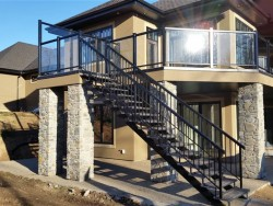 Aluminum Rail with Glass and a 6' High Wind Wall