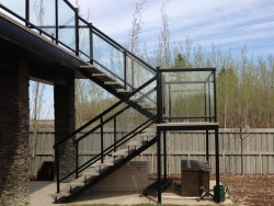 Aluminum Stairs and Landing, Wrapped in Vinyl