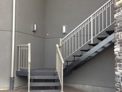 Aluminum Stairs with Checker Plate Treads and Aluminum Double-top Rail with Extra Picket