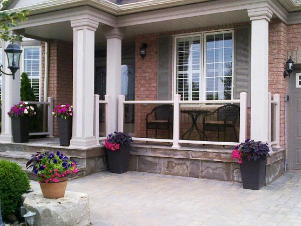 Aluminum glass railing edmonton south side ornamental for Modern glass porch designs