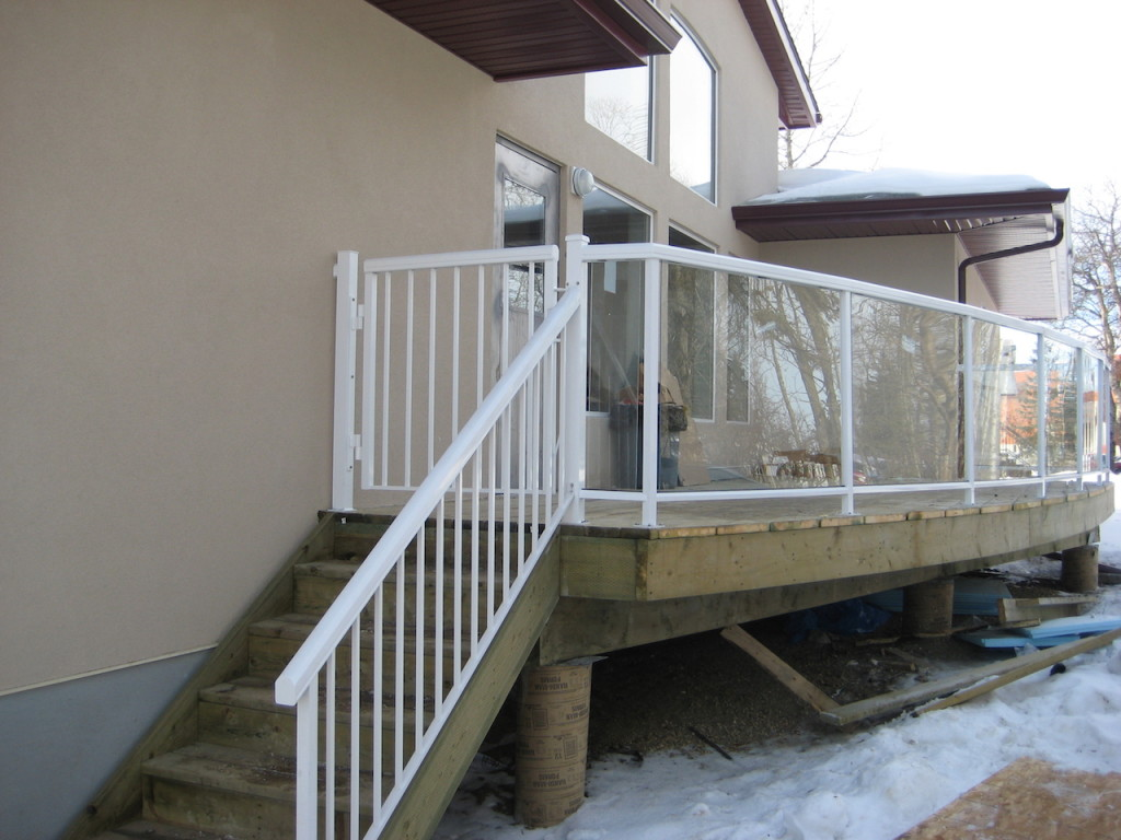 Glass Railing, Picket Stairs With A Gate