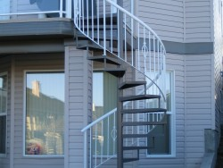 Spiral Staircase with Design, Aluminum Glass Rail