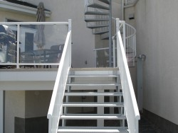 Straight Staircase with Checker Plate Treads